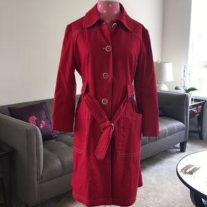 Anni Kuan red trench coat 'sweatshop free' size M